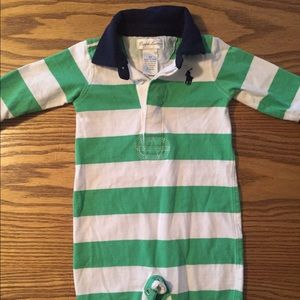 Ralph Lauren Green and White Striped One Piece 3M
